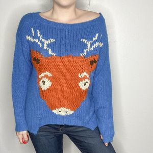 POL reindeer knit holiday sweater blue | Sz M